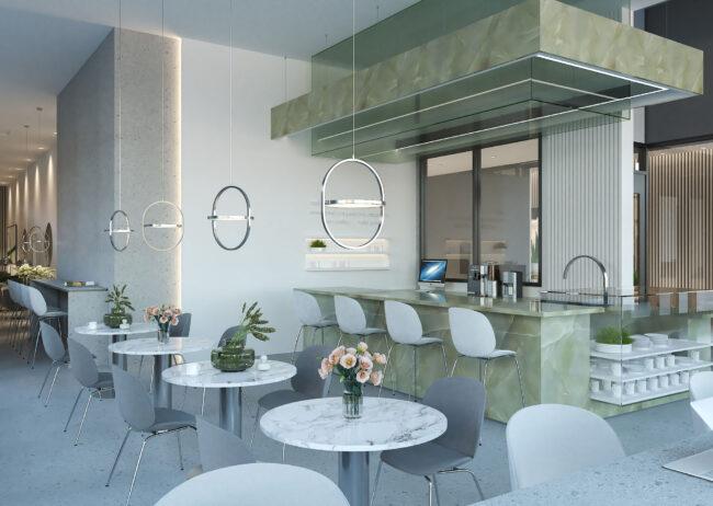 Cafe rendering in Seattle Washington designed by Radical Galaxy Studio