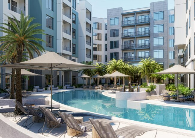 Multi Family amenities space rendering