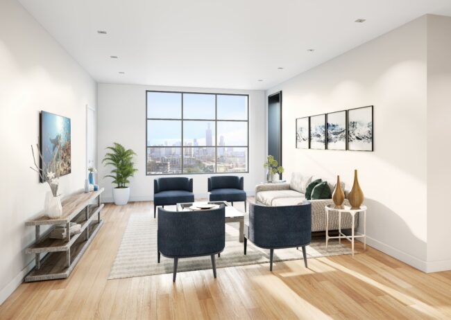 Chicago Living Room Rendering of 1400 w monroe created by radical galaxy studio