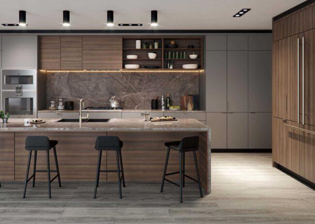 luxury kitchen rendering of a new development condominium created by radical galaxy studio