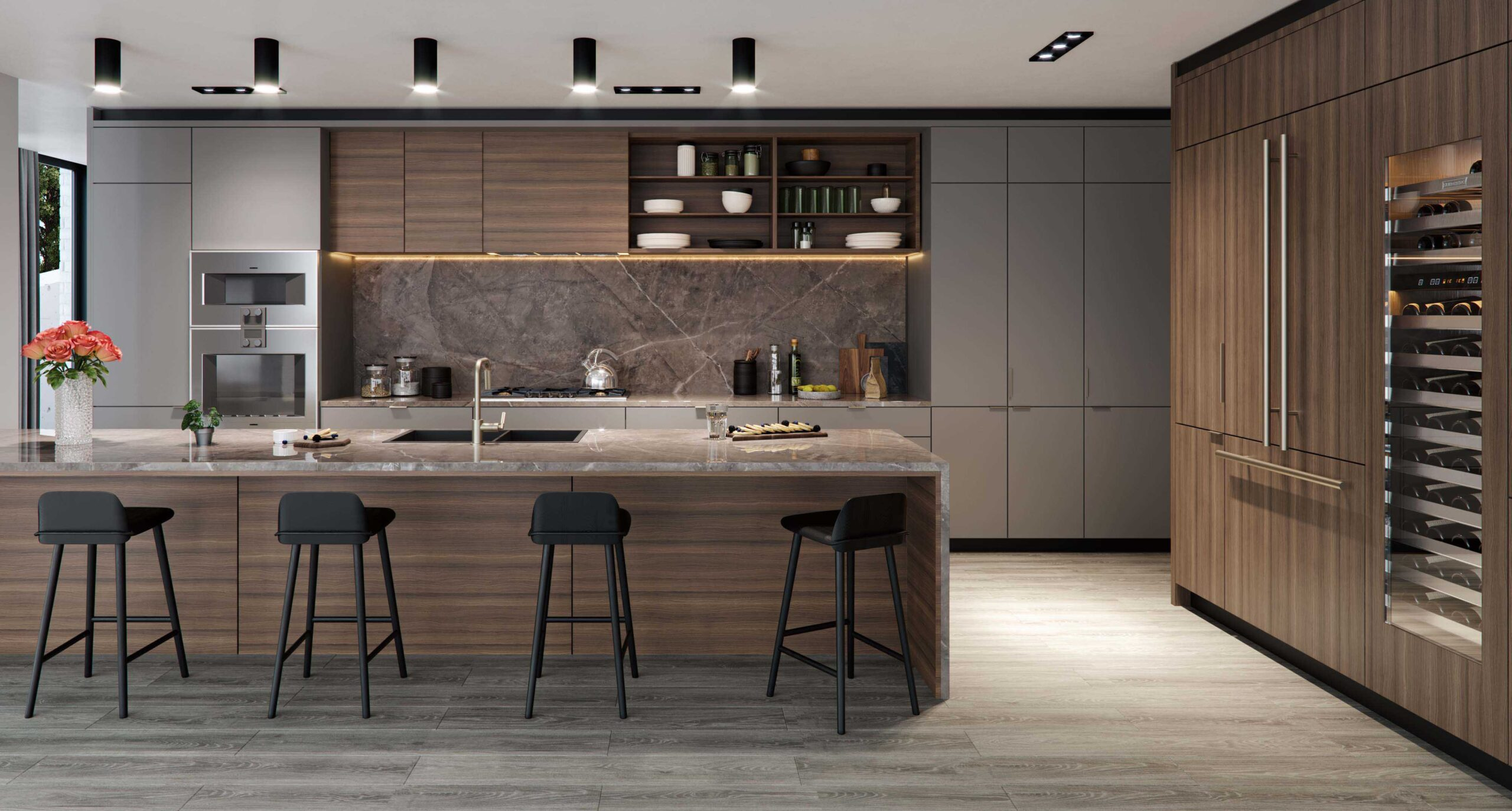 luxury kitchen rendering of a new development condominium created by radical galaxy studio