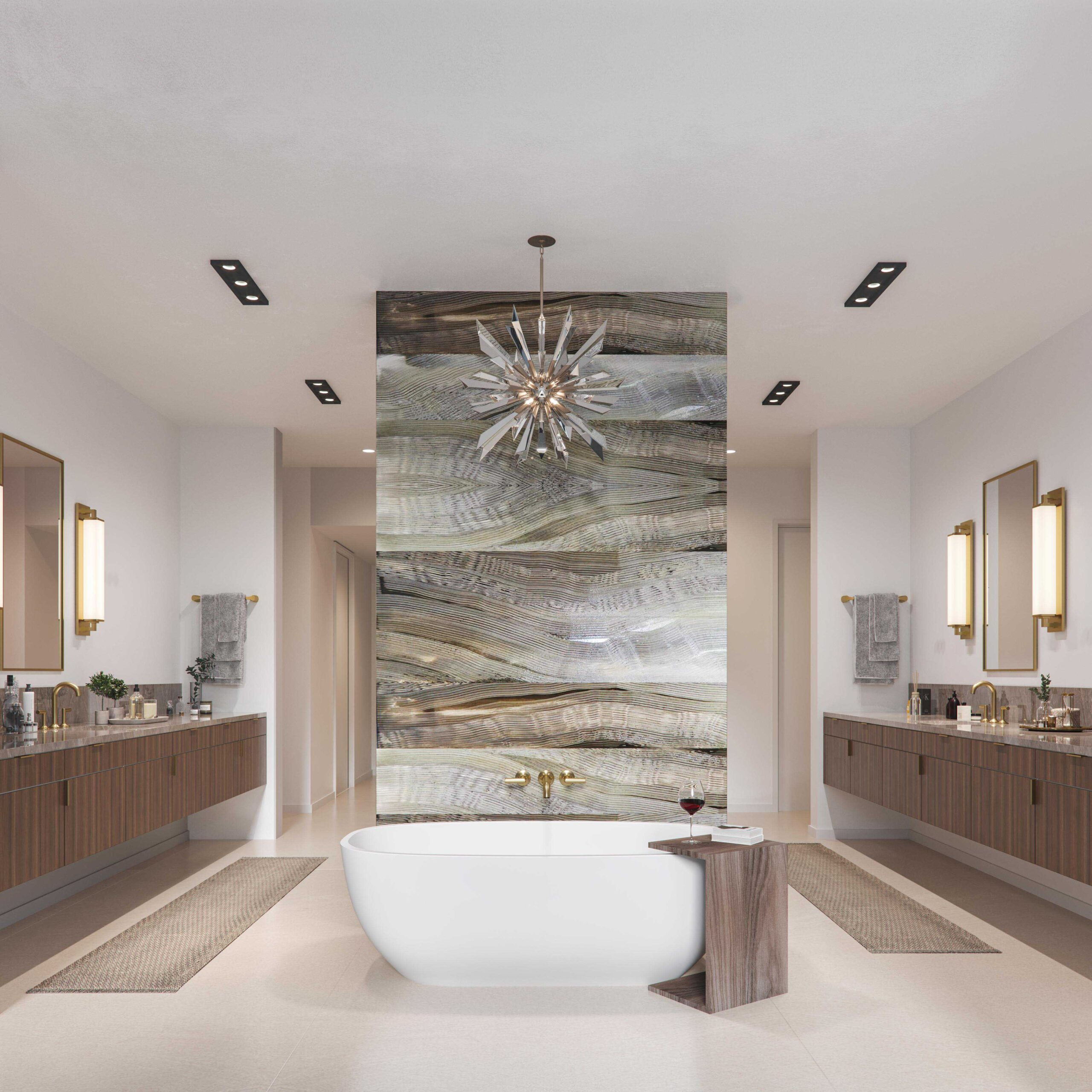Penthouse master bath rendering, The Colorfield.