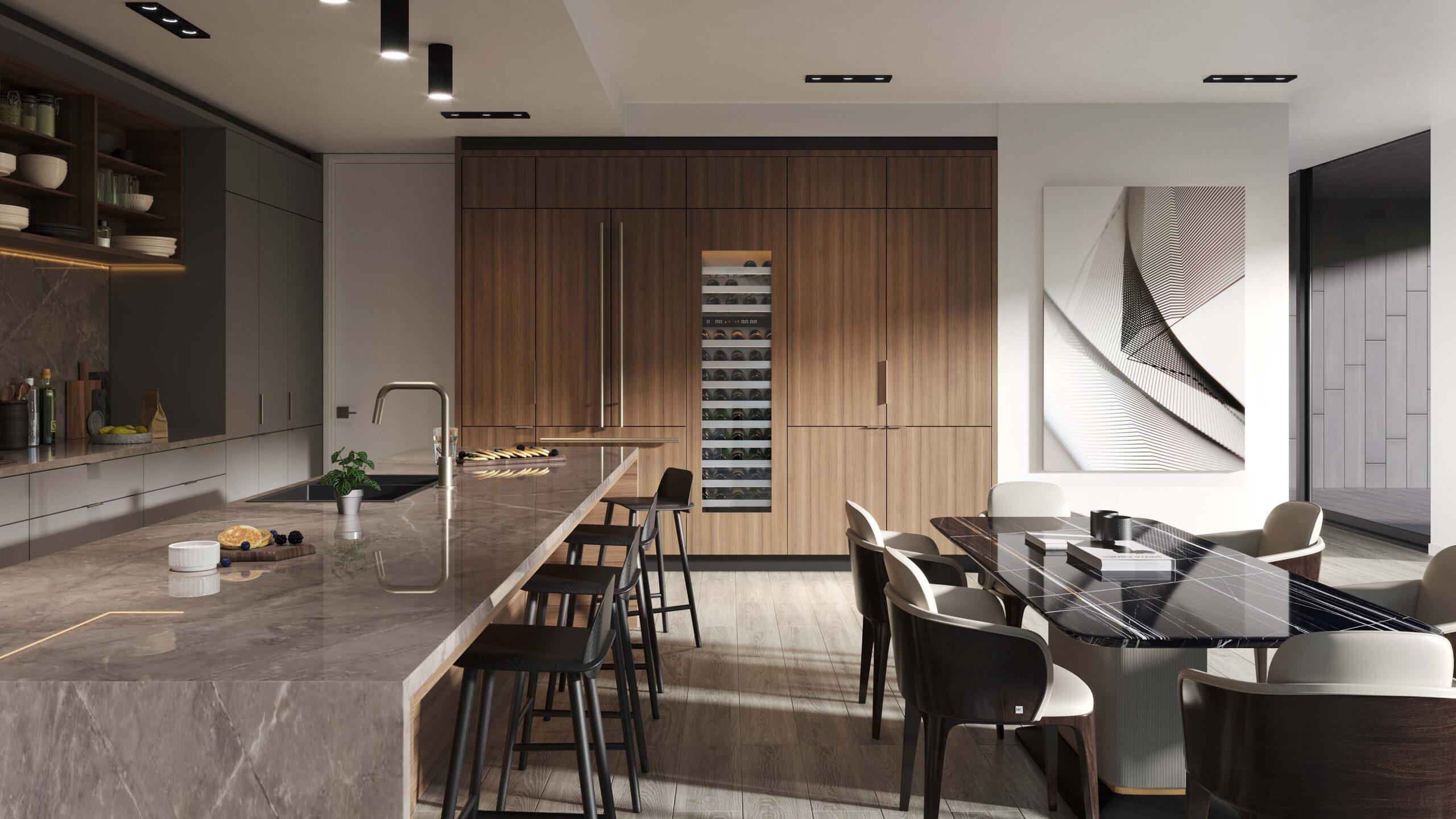 Kitchen Rendering of a designer condominium Radical Galaxy Studio