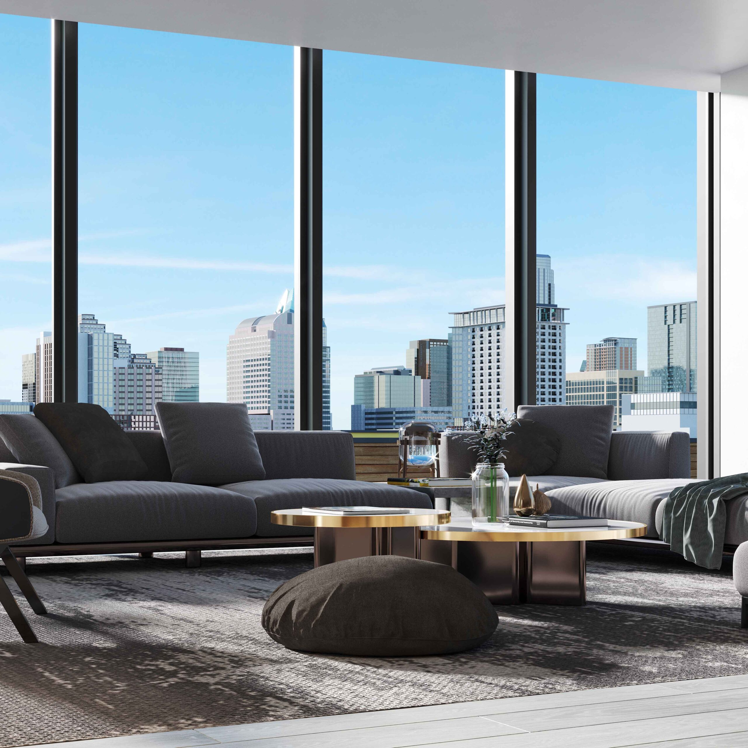 Living Room Rendering created by Radical Galaxy Studio in a condominium