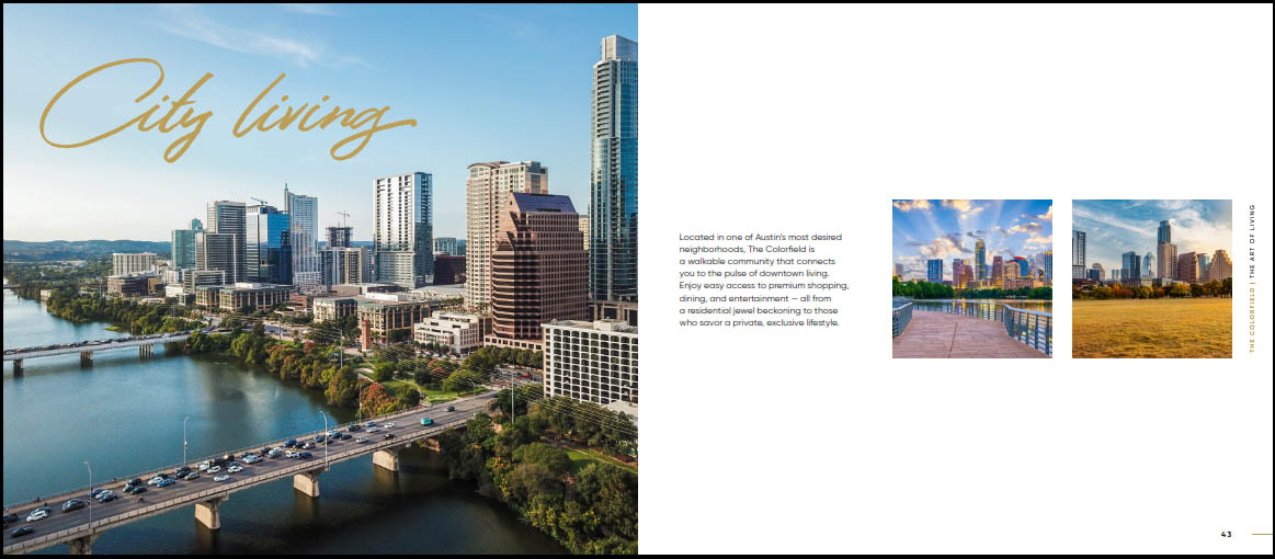 city living austin texas real estate marketing brochure