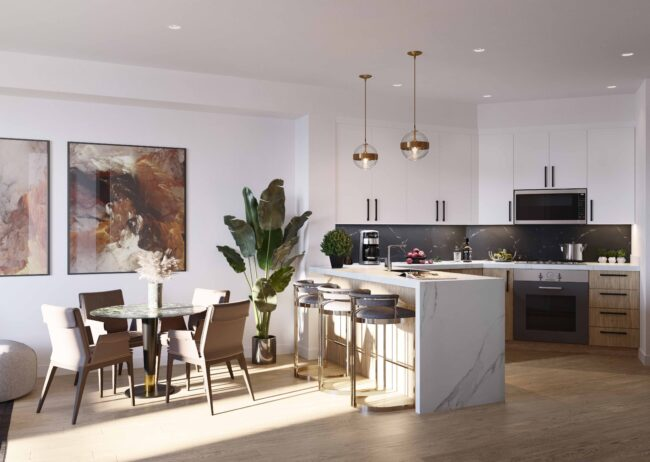 Multi-family kitchen rendering created by radical galaxy studio