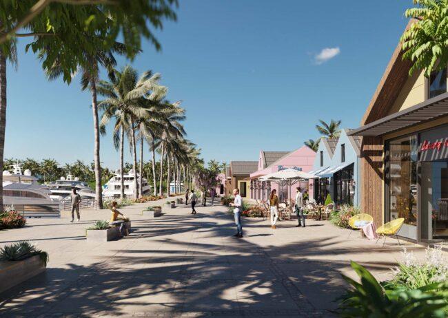 Marina village renderings showcasing the yacht club