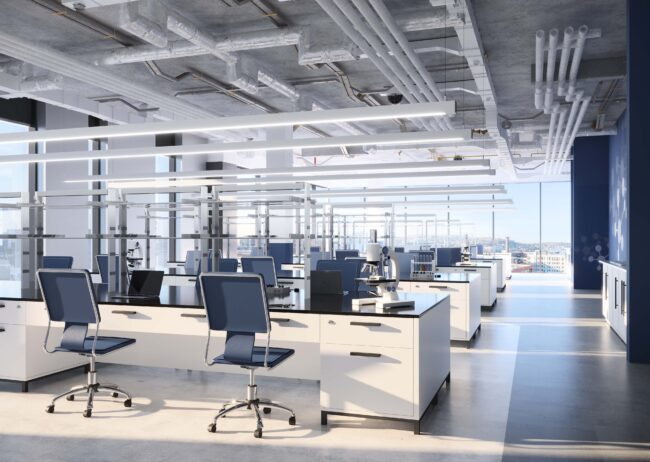 Radical Galaxy Studio created a lab space rendering of the cascadian new development in seattle.