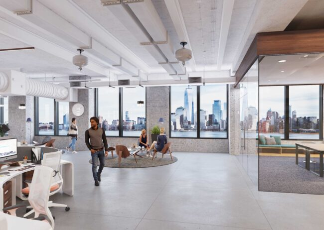 Office 3d tour rendering created for Spear Street in New York