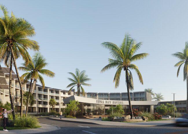 Hospitality rendering in Kona Hawaii this is a non flag hotel ie Hyatt, Marriott or IHG