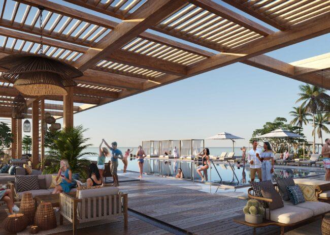 Hawaii Rendering showcasing toe social club around to oceanfront pool