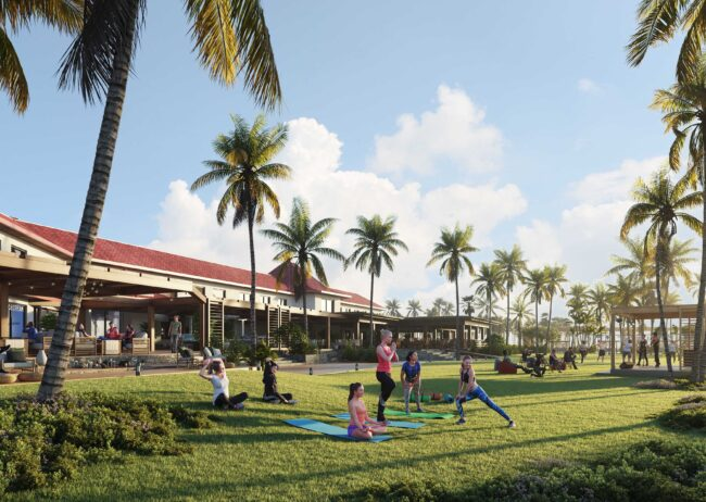 multi- use real estate development with a focus on the retail complex rendering in Hawaii creating by radical galaxy studio