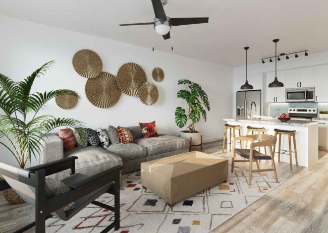 Livingroom Multifamily Rendering Visualization Firm